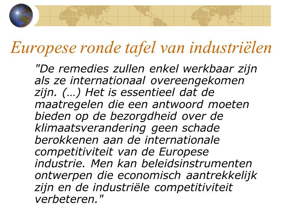 Europese ronde tafel van industriëlen De remedies zullen enkel werkbaar zijn als ze internationaal overeengekomen zijn.
