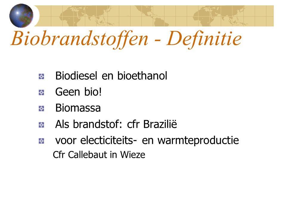 Biobrandstoffen - Definitie Biodiesel en bioethanol Geen bio.