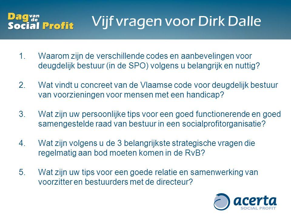 Vijf vragen voor Dirk Dalle 1.Waarom zijn de verschillende codes en aanbevelingen voor deugdelijk bestuur (in de SPO) volgens u belangrijk en nuttig?