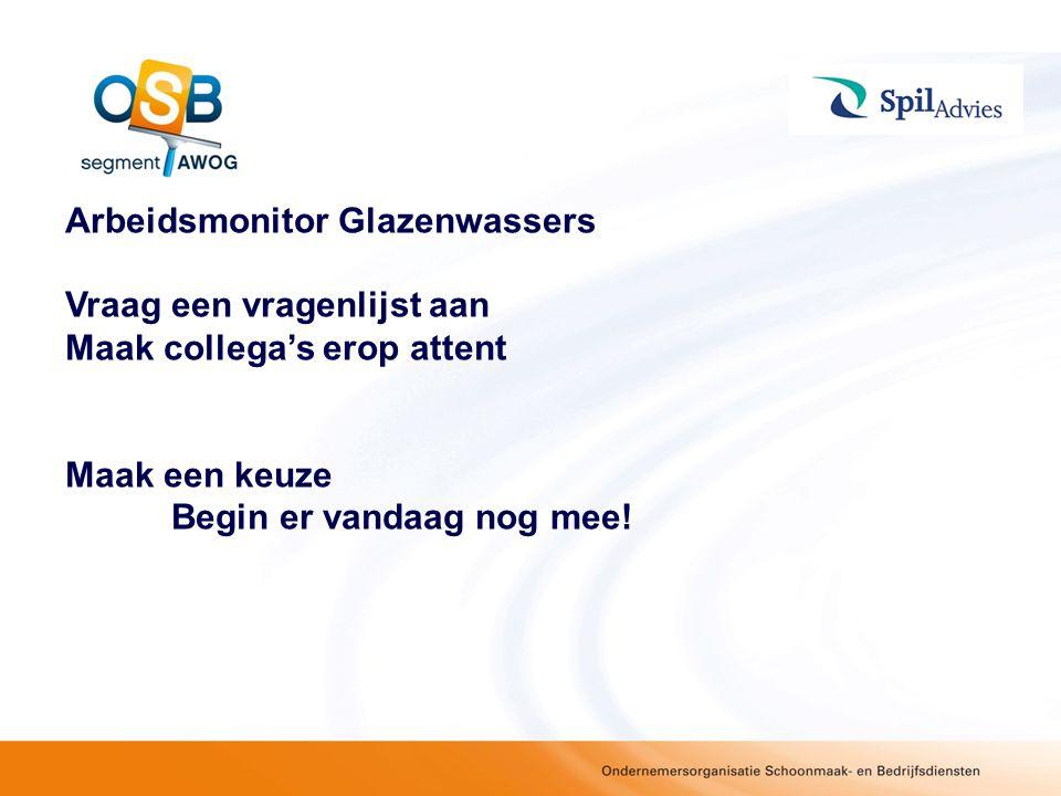 Arbeidsmonitor Glazenwassers Vraag een vragenlijst aan Maak collega's erop attent Maak een keuze Begin er vandaag nog mee!
