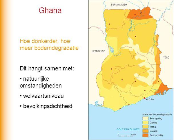 Ghana Hoe donkerder, hoe meer bodemdegradatie Dit hangt samen met: natuurlijke omstandigheden welvaartsniveau bevolkingsdichtheid