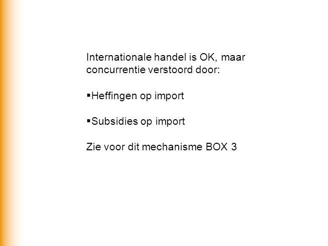 Internationale handel is OK, maar concurrentie verstoord door:  Heffingen op import  Subsidies op import Zie voor dit mechanisme BOX 3