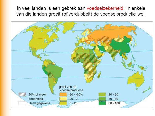 In veel landen is een gebrek aan voedselzekerheid. In enkele van die landen groeit (of verdubbelt) de voedselproductie wel.