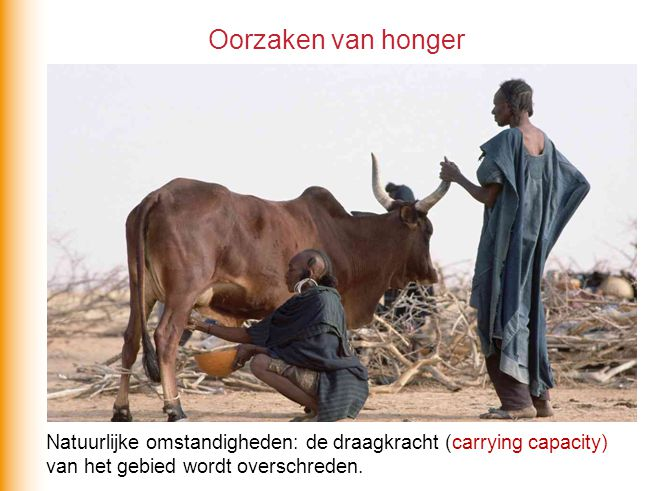 Natuurlijke omstandigheden: de draagkracht (carrying capacity) van het gebied wordt overschreden. Oorzaken van honger
