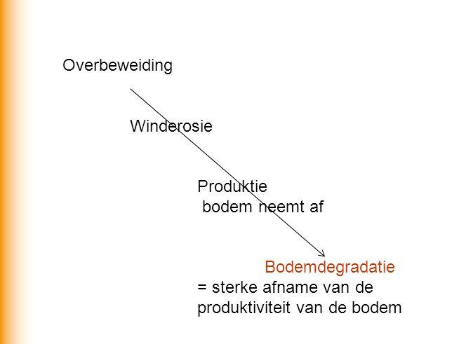 Overbeweiding Winderosie Produktie bodem neemt af Bodemdegradatie = sterke afname van de produktiviteit van de bodem