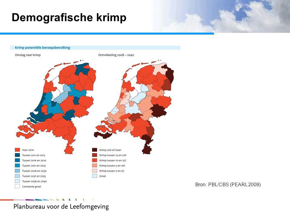 Demografische krimp Bron: PBL/CBS (PEARL 2009)