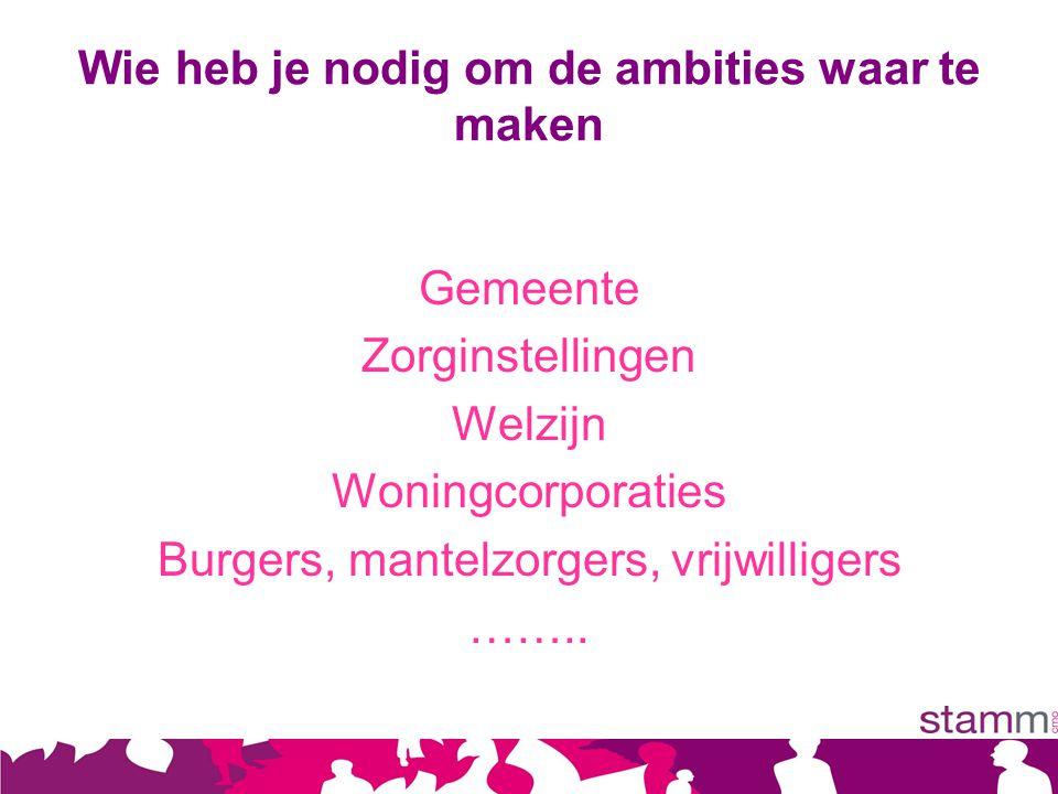 Wie heb je nodig om de ambities waar te maken Gemeente Zorginstellingen Welzijn Woningcorporaties Burgers, mantelzorgers, vrijwilligers ……..
