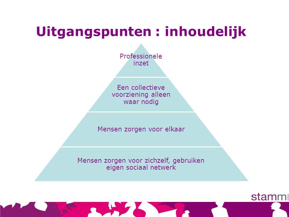 Professionele inzet Een collectieve voorziening alleen waar nodig Mensen zorgen voor elkaar Mensen zorgen voor zichzelf, gebruiken eigen sociaal netwe