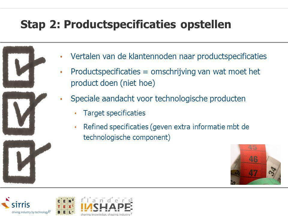 Stap 2: Productspecificaties opstellen Vertalen van de klantennoden naar productspecificaties Productspecificaties = omschrijving van wat moet het pro