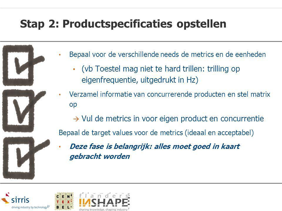 Stap 2: Productspecificaties opstellen Bepaal voor de verschillende needs de metrics en de eenheden (vb Toestel mag niet te hard trillen: trilling op
