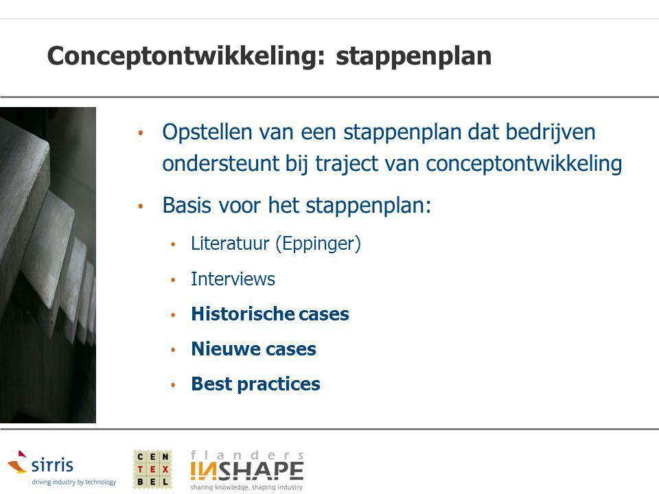 Conceptontwikkeling: stappenplan Opstellen van een stappenplan dat bedrijven ondersteunt bij traject van conceptontwikkeling Basis voor het stappenpla