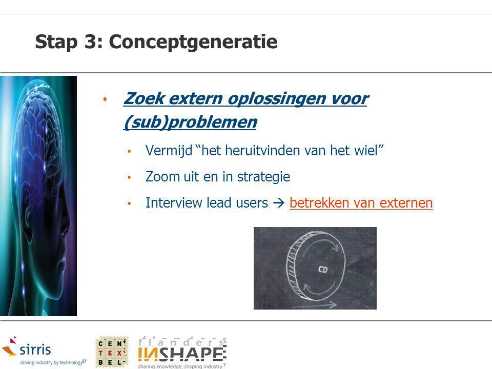 """Stap 3: Conceptgeneratie Zoek extern oplossingen voor (sub)problemen Vermijd """"het heruitvinden van het wiel"""" Zoom uit en in strategie Interview lead u"""