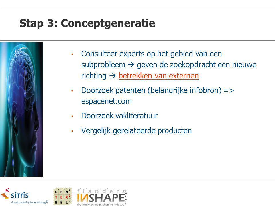 Stap 3: Conceptgeneratie Consulteer experts op het gebied van een subprobleem  geven de zoekopdracht een nieuwe richting  betrekken van externen Doo