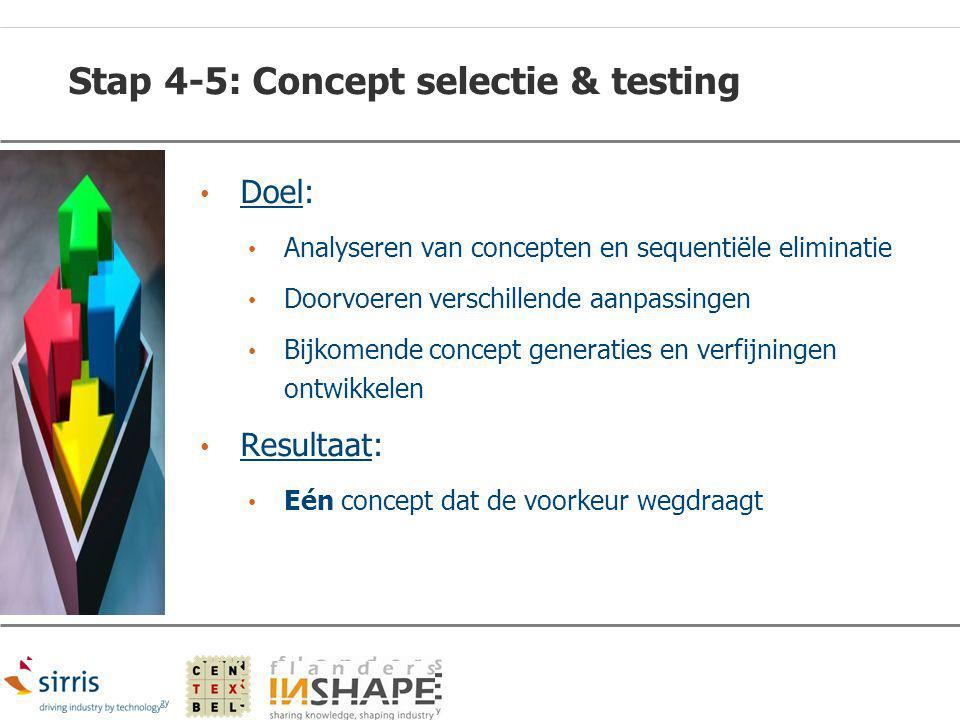 Stap 4-5: Concept selectie & testing Doel: Analyseren van concepten en sequentiële eliminatie Doorvoeren verschillende aanpassingen Bijkomende concept