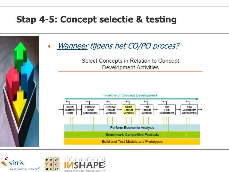 Stap 4-5: Concept selectie & testing Wanneer tijdens het CO/PO proces?