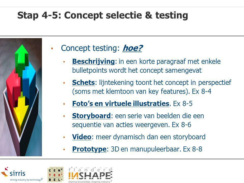 Stap 4-5: Concept selectie & testing Concept testing: hoe? Beschrijving: in een korte paragraaf met enkele bulletpoints wordt het concept samengevat S