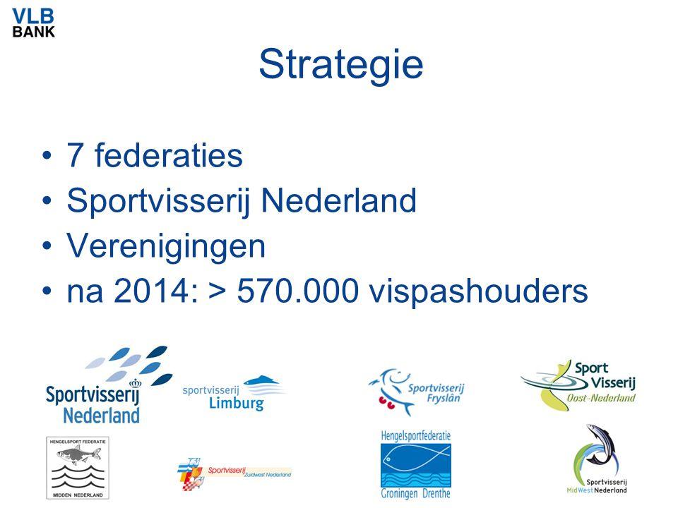 Strategie 7 federaties Sportvisserij Nederland Verenigingen na 2014: > 570.000 vispashouders