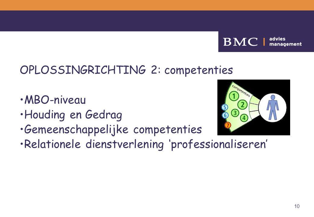 10 OPLOSSINGRICHTING 2: competenties MBO-niveau Houding en Gedrag Gemeenschappelijke competenties Relationele dienstverlening 'professionaliseren'