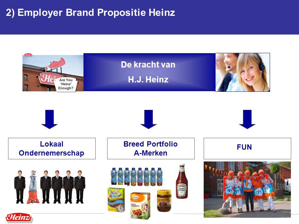 2) Employer Brand Propositie Heinz Lokaal Ondernemerschap Breed Portfolio A-Merken FUN De kracht van H.J. Heinz Are You 'Heinz' Enough?