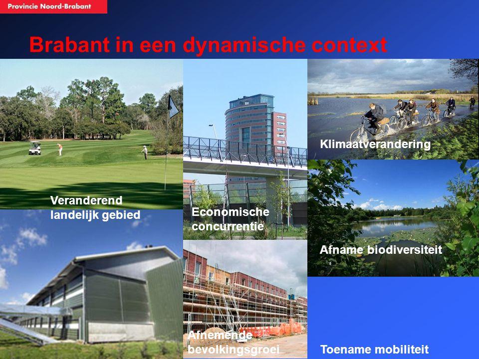 Brabant in een dynamische context Veranderend landelijk gebied Afnemende bevolkingsgroei Afname biodiversiteit Klimaatverandering Toename mobiliteit Economische concurrentie
