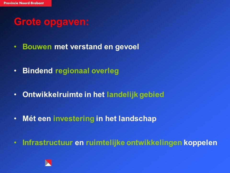 Grote opgaven: Bouwen met verstand en gevoel Bindend regionaal overleg Ontwikkelruimte in het landelijk gebied Mét een investering in het landschap Infrastructuur en ruimtelijke ontwikkelingen koppelen