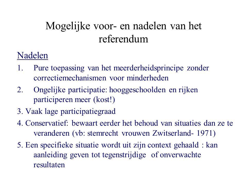 Mogelijke voor- en nadelen van het referendum Nadelen 1.Pure toepassing van het meerderheidsprincipe zonder correctiemechanismen voor minderheden 2.Ongelijke participatie: hooggeschoolden en rijken participeren meer (kost!) 3.