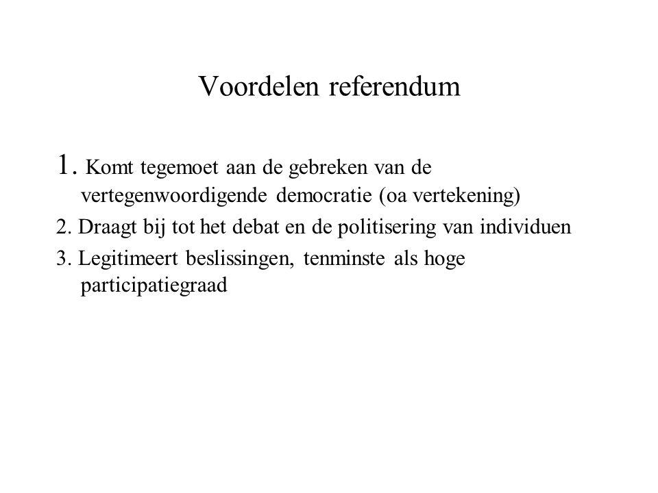 Voordelen referendum 1. Komt tegemoet aan de gebreken van de vertegenwoordigende democratie (oa vertekening) 2. Draagt bij tot het debat en de politis