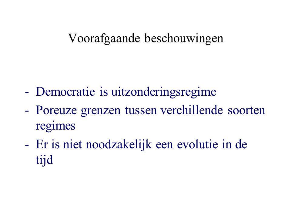 Voorafgaande beschouwingen -Democratie is uitzonderingsregime -Poreuze grenzen tussen verchillende soorten regimes -Er is niet noodzakelijk een evolutie in de tijd