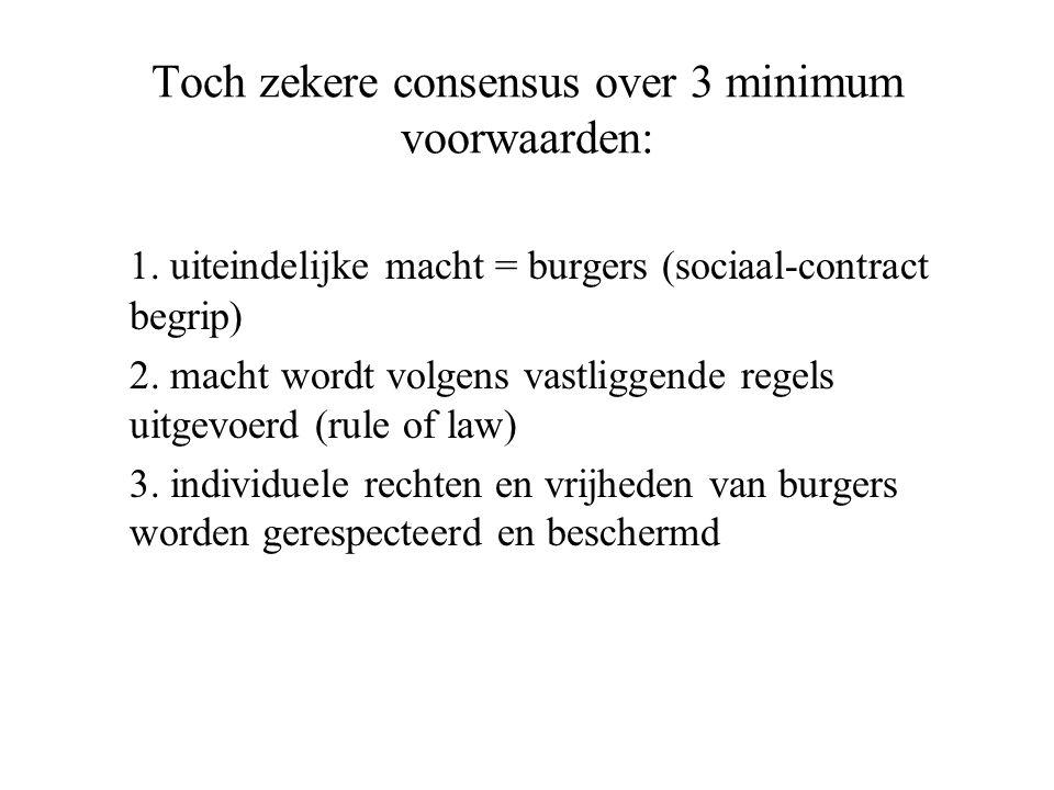 Toch zekere consensus over 3 minimum voorwaarden: 1.