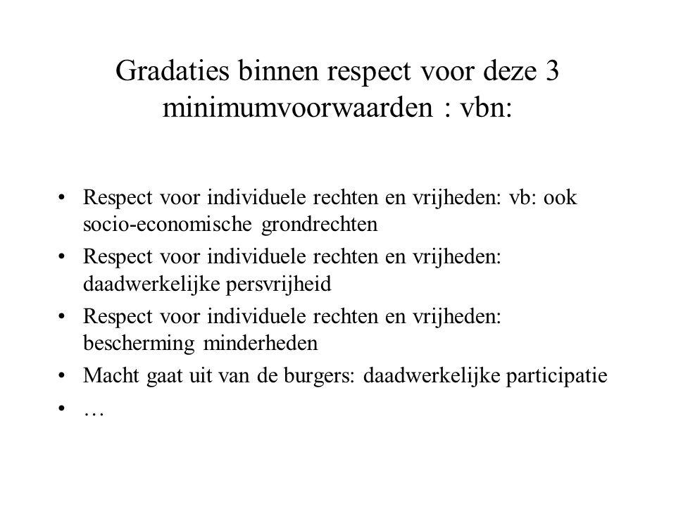 Gradaties binnen respect voor deze 3 minimumvoorwaarden : vbn: Respect voor individuele rechten en vrijheden: vb: ook socio-economische grondrechten R