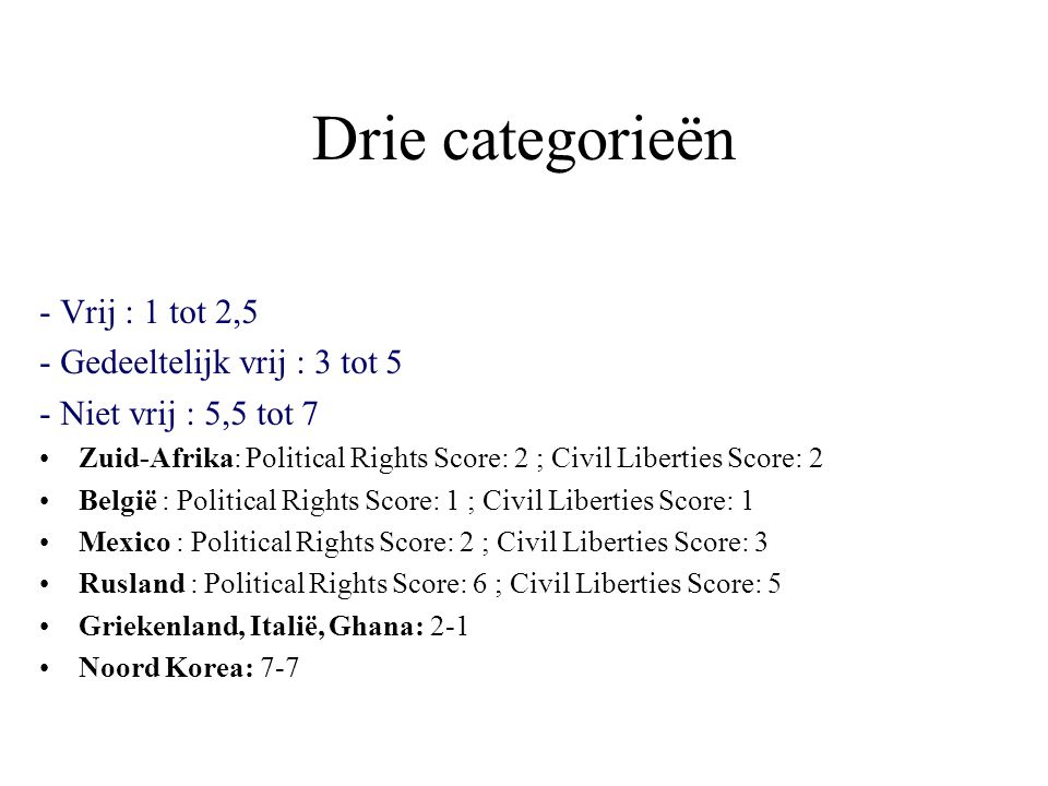 Drie categorieën - Vrij : 1 tot 2,5 - Gedeeltelijk vrij : 3 tot 5 - Niet vrij : 5,5 tot 7 Zuid-Afrika: Political Rights Score: 2 ; Civil Liberties Score: 2 België : Political Rights Score: 1 ; Civil Liberties Score: 1 Mexico : Political Rights Score: 2 ; Civil Liberties Score: 3 Rusland : Political Rights Score: 6 ; Civil Liberties Score: 5 Griekenland, Italië, Ghana: 2-1 Noord Korea: 7-7