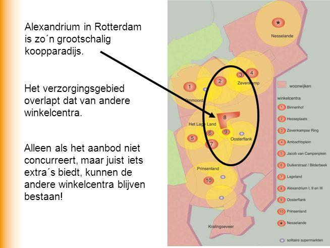 Alexandrium in Rotterdam is zo´n grootschalig koopparadijs. Het verzorgingsgebied overlapt dat van andere winkelcentra. Alleen als het aanbod niet con