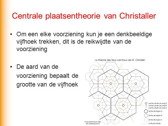 Centrale plaatsentheorie van Christaller Om een elke voorziening kun je een denkbeeldige vijfhoek trekken, dit is de reikwijdte van de voorziening De aard van de voorziening bepaalt de grootte van de vijfhoek