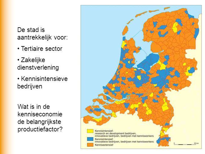 De stad is aantrekkelijk voor: Tertiaire sector Zakelijke dienstverlening Kennisintensieve bedrijven Wat is in de kenniseconomie de belangrijkste productiefactor?