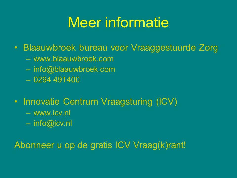 Meer informatie Blaauwbroek bureau voor Vraaggestuurde Zorg –www.blaauwbroek.com –info@blaauwbroek.com –0294 491400 Innovatie Centrum Vraagsturing (IC