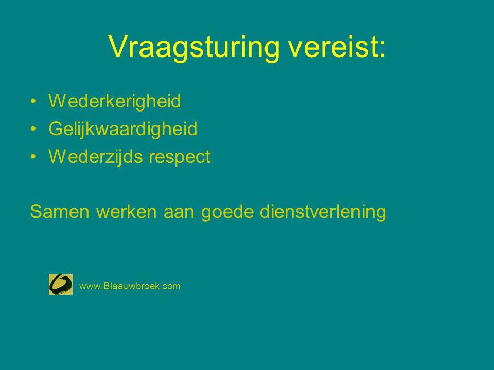 Vraagsturing vereist: Wederkerigheid Gelijkwaardigheid Wederzijds respect Samen werken aan goede dienstverlening www.Blaauwbroek.com