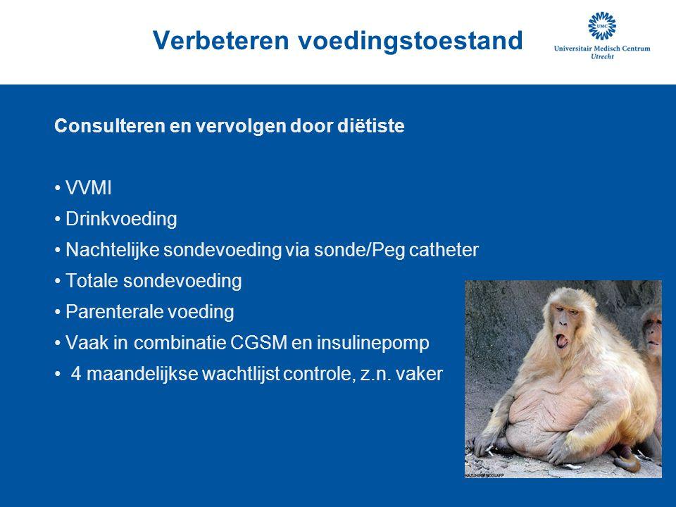 Verbeteren voedingstoestand Consulteren en vervolgen door diëtiste VVMI Drinkvoeding Nachtelijke sondevoeding via sonde/Peg catheter Totale sondevoedi