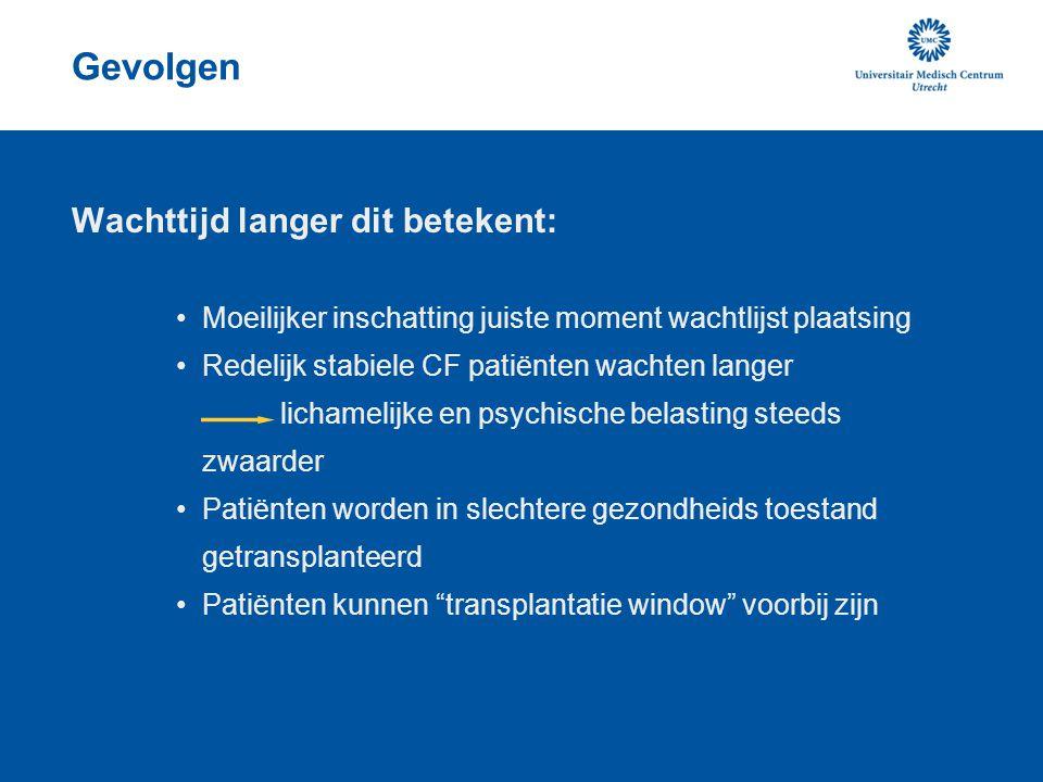Sterfte op de wachtlijst Voor invoering van High Urgent (2001) Sterfte op de wachtlijst 30-40 % voor CF patiënten ( Hosenpud, Lancet, 1998) Na invoering HU status Sterfte op de wachtlijst circa 15% voor alle groepen ( J.M.M.