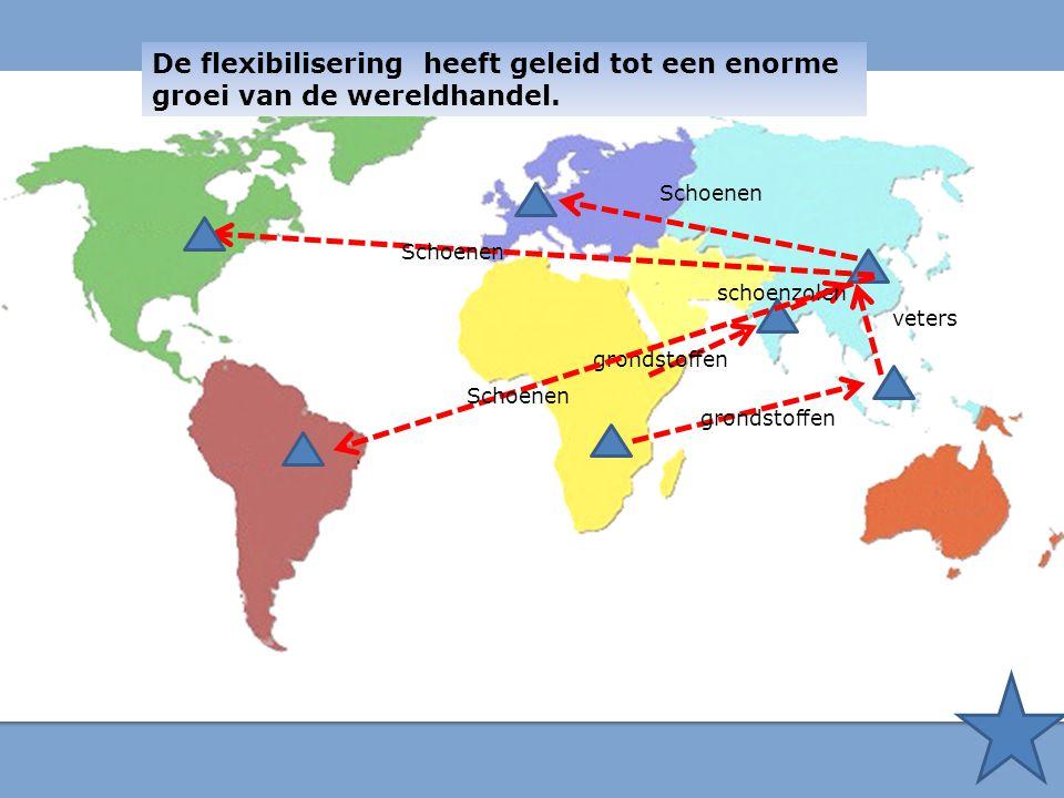 De flexibilisering heeft geleid tot een enorme groei van de wereldhandel. veters schoenzolen Schoenen grondstoffen Schoenen