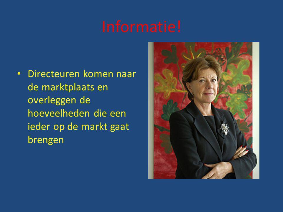 Informatie! Directeuren komen naar de marktplaats en overleggen de hoeveelheden die een ieder op de markt gaat brengen