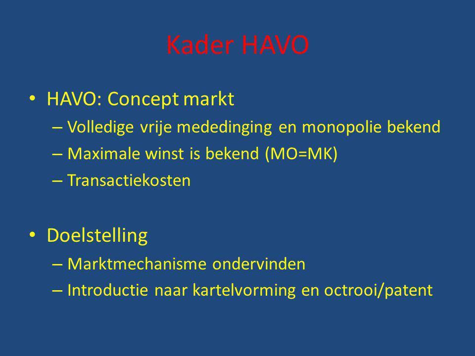 Kader HAVO HAVO: Concept markt – Volledige vrije mededinging en monopolie bekend – Maximale winst is bekend (MO=MK) – Transactiekosten Doelstelling –