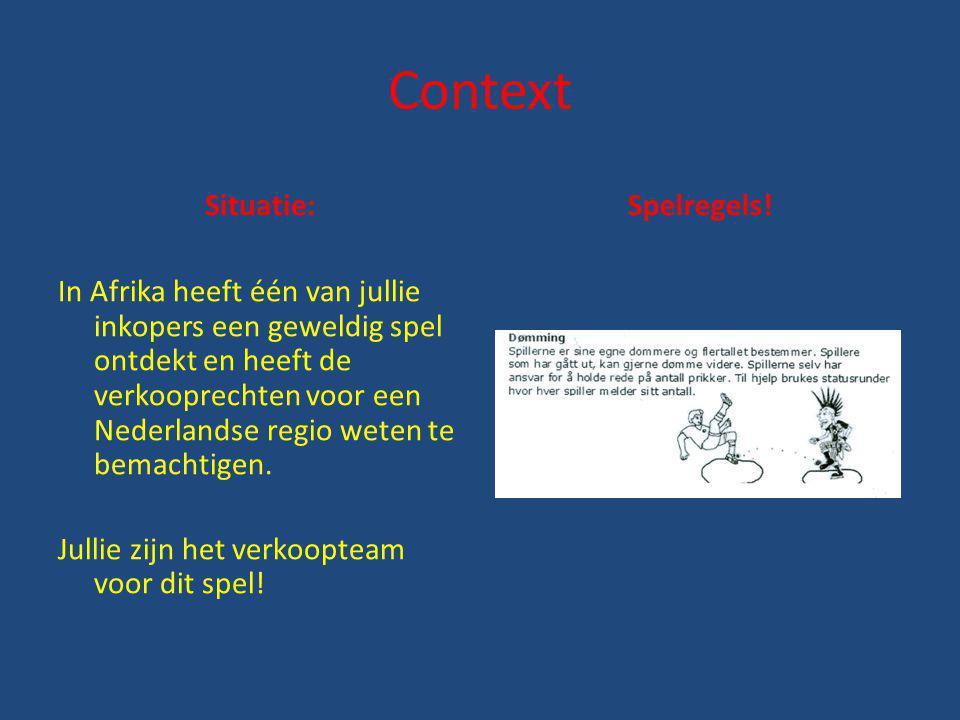 Context Situatie: In Afrika heeft één van jullie inkopers een geweldig spel ontdekt en heeft de verkooprechten voor een Nederlandse regio weten te bem