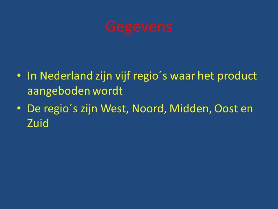 Gegevens In Nederland zijn vijf regio´s waar het product aangeboden wordt De regio´s zijn West, Noord, Midden, Oost en Zuid