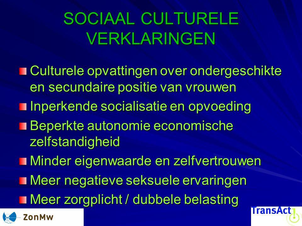 SOCIAAL CULTURELE VERKLARINGEN Culturele opvattingen over ondergeschikte en secundaire positie van vrouwen Inperkende socialisatie en opvoeding Beperk
