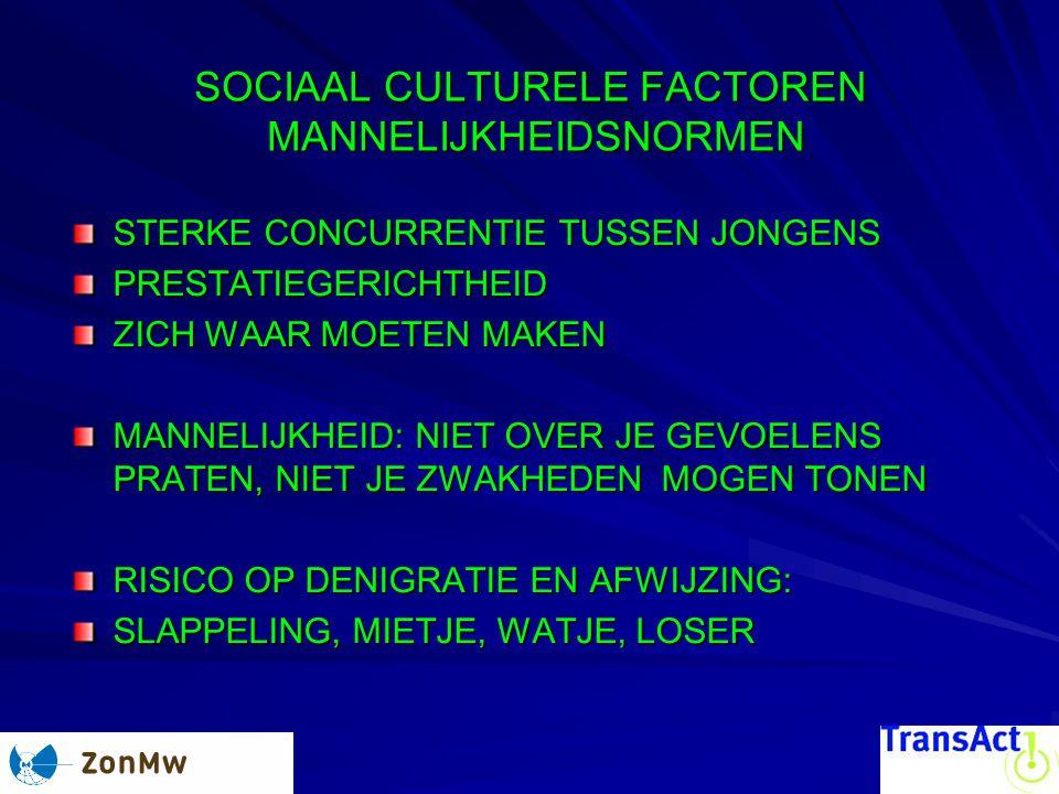 SOCIAAL CULTURELE FACTOREN MANNELIJKHEIDSNORMEN STERKE CONCURRENTIE TUSSEN JONGENS PRESTATIEGERICHTHEID ZICH WAAR MOETEN MAKEN MANNELIJKHEID: NIET OVE