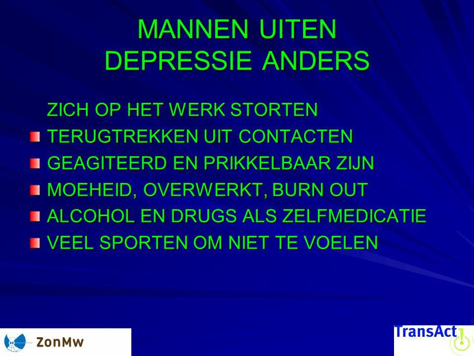 MANNEN UITEN DEPRESSIE ANDERS ZICH OP HET WERK STORTEN TERUGTREKKEN UIT CONTACTEN GEAGITEERD EN PRIKKELBAAR ZIJN MOEHEID, OVERWERKT, BURN OUT ALCOHOL