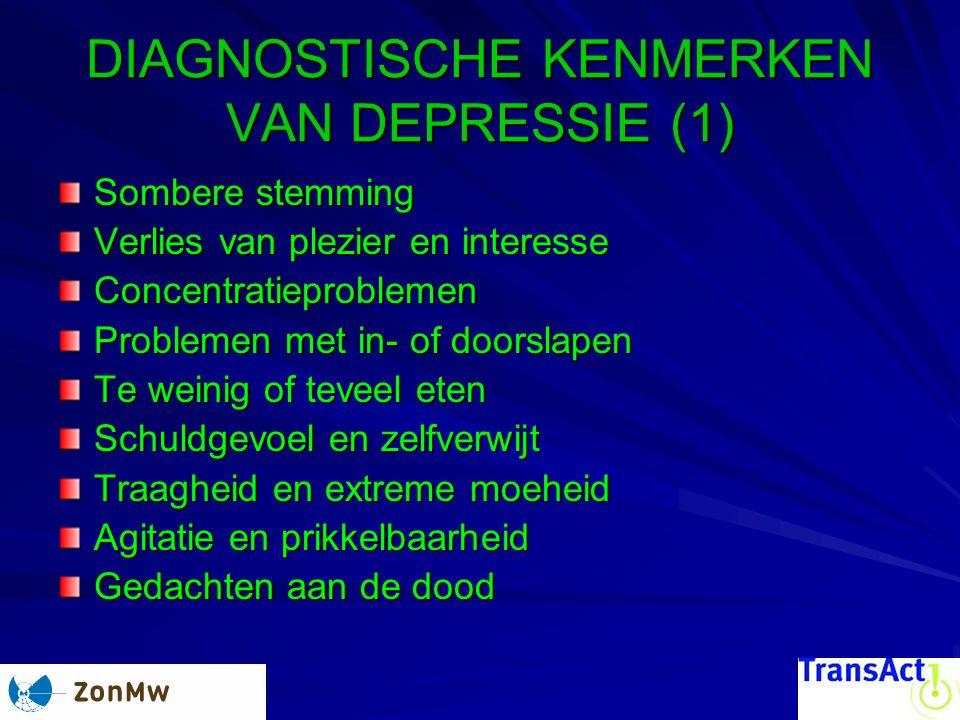 DIAGNOSTISCHE KENMERKEN VAN DEPRESSIE (1) Sombere stemming Verlies van plezier en interesse Concentratieproblemen Problemen met in- of doorslapen Te w
