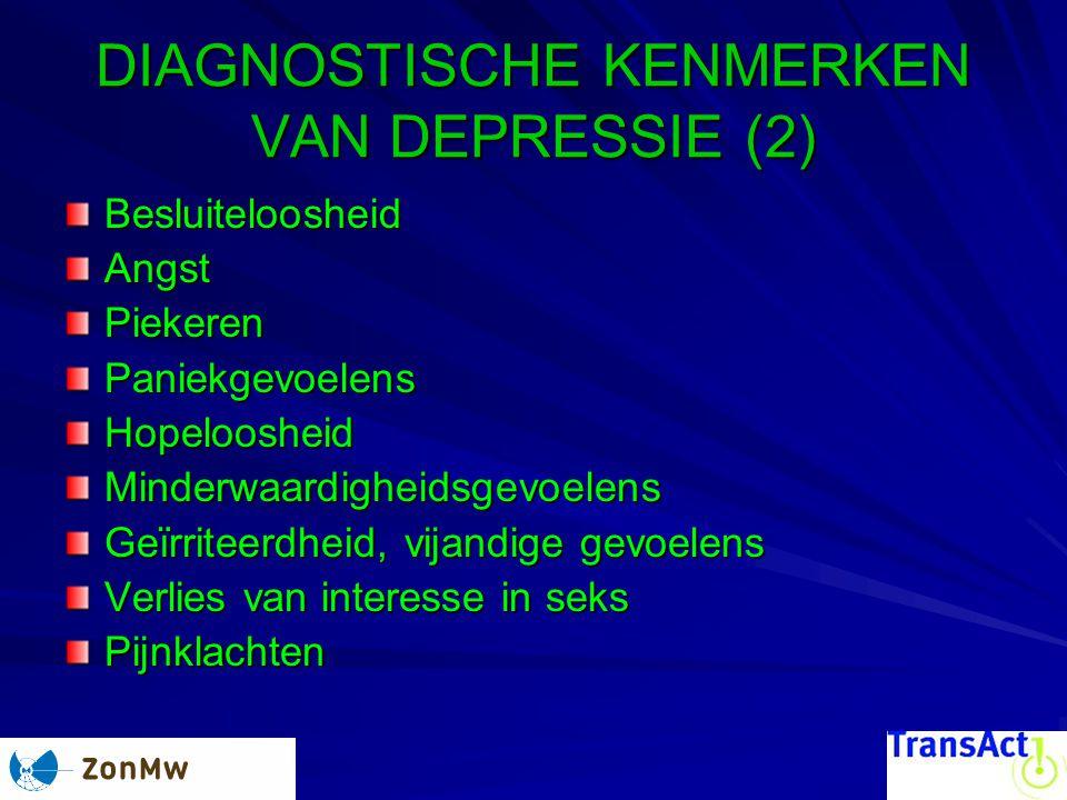 DIAGNOSTISCHE KENMERKEN VAN DEPRESSIE (2) BesluiteloosheidAngstPiekerenPaniekgevoelensHopeloosheidMinderwaardigheidsgevoelens Geïrriteerdheid, vijandige gevoelens Verlies van interesse in seks Pijnklachten