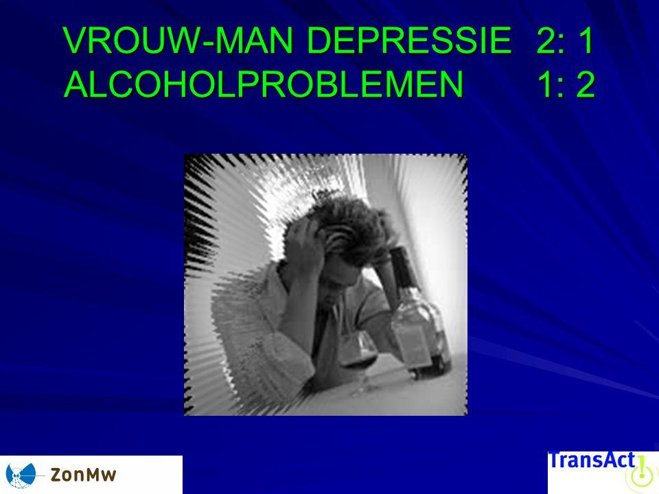 VROUW-MAN DEPRESSIE 2: 1 ALCOHOLPROBLEMEN 1: 2