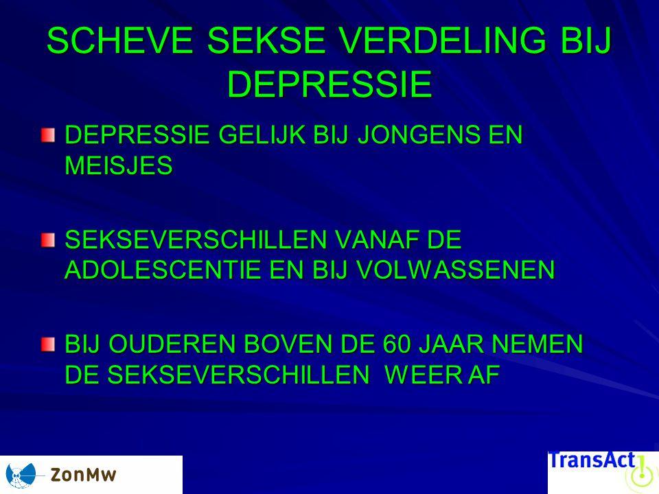 SCHEVE SEKSE VERDELING BIJ DEPRESSIE DEPRESSIE GELIJK BIJ JONGENS EN MEISJES SEKSEVERSCHILLEN VANAF DE ADOLESCENTIE EN BIJ VOLWASSENEN BIJ OUDEREN BOVEN DE 60 JAAR NEMEN DE SEKSEVERSCHILLEN WEER AF